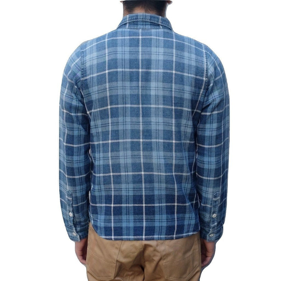 Pure Blue Japan Gradient Distressed Flannel Work Shirt