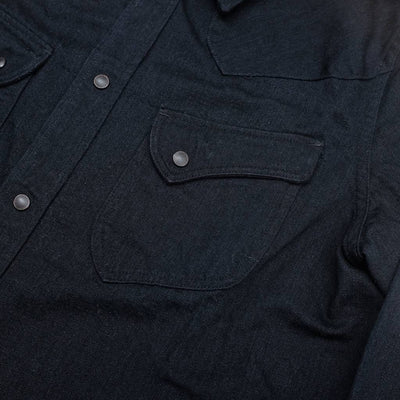 Pure Blue Japan Black x Black Selvedge Western Shirt - Okayama Denim Shirt - Selvedge
