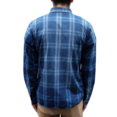 Pure Blue Japan Gradient Distressed Check Work Shirt (Color 1)