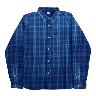 Pure Blue Japan Gradient Distressed Check Work Shirt (Color 2)