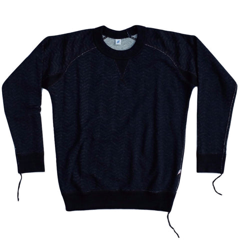 Pure Blue Japan Indigo Herringbone Crewneck Sweatshirt