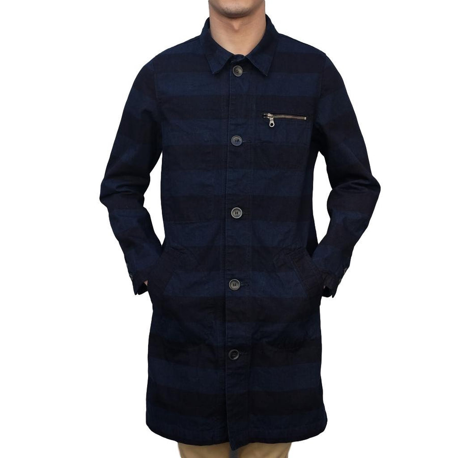 Pure Blue Japan Indigo Border Coat