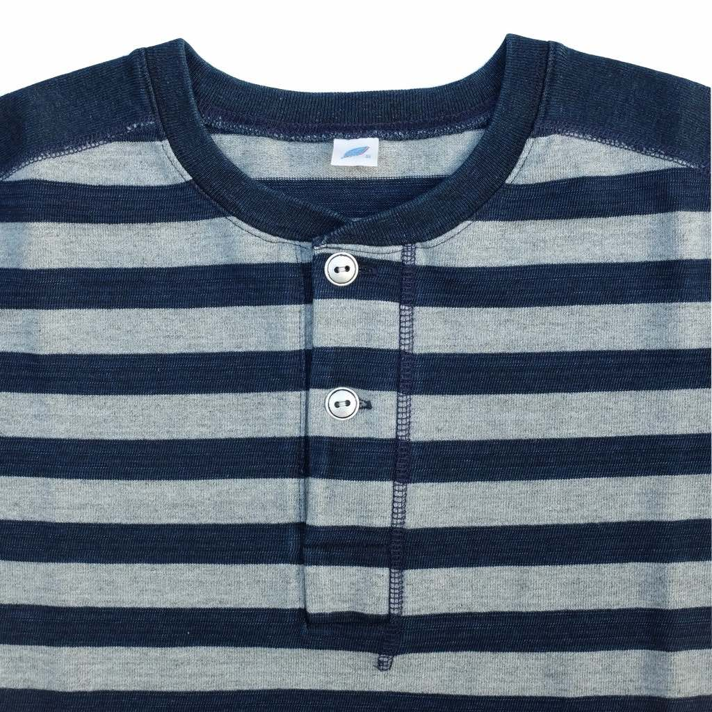 Pure Blue Japan Indigo Slub S/S Border Henley