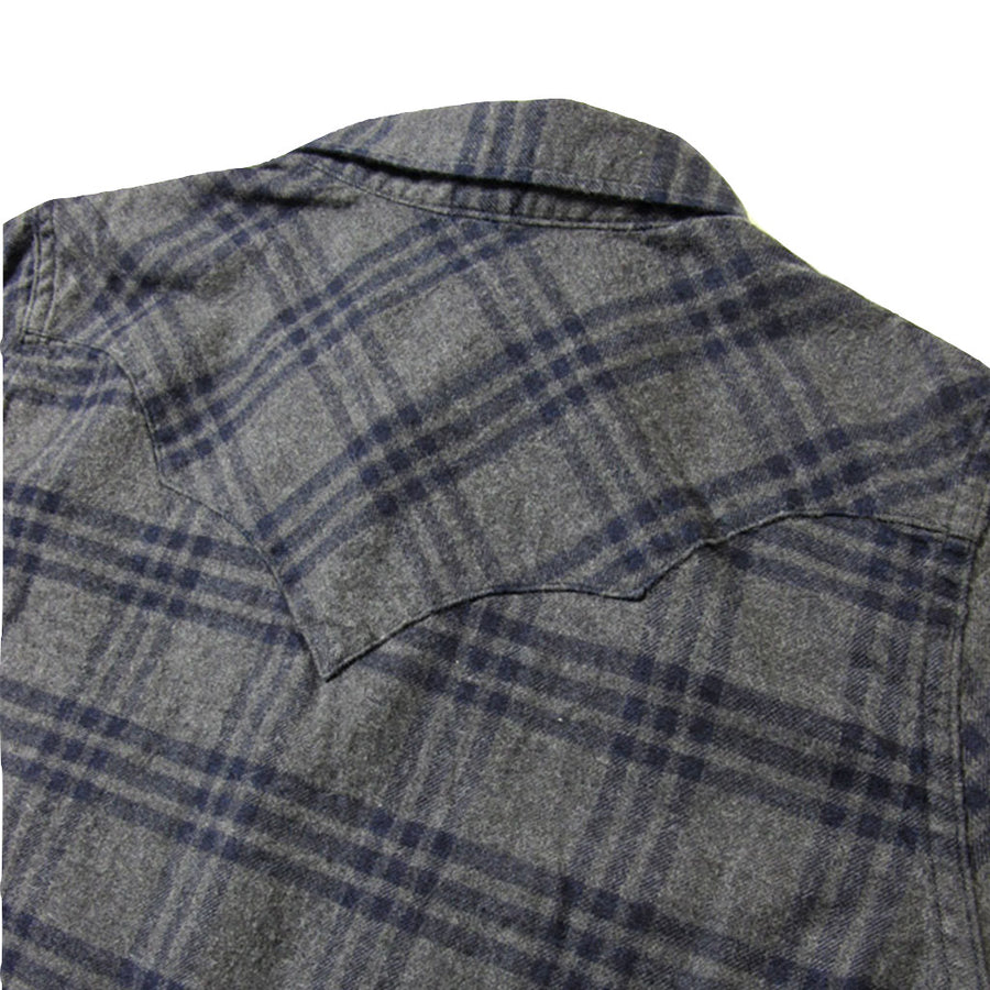 Pure Blue Japan Indigo Check Flannel Western Shirt (Color 2)