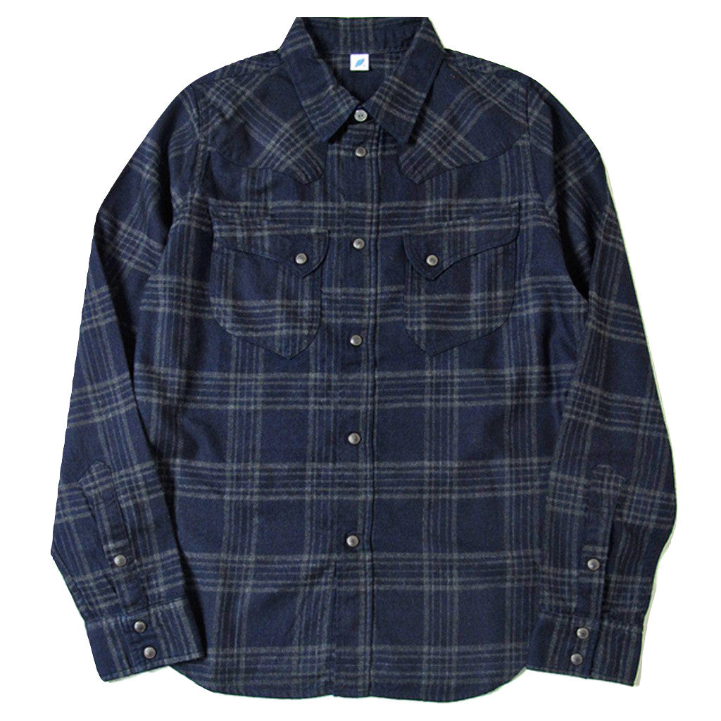 0fa50f06ab Pure Blue Japan Indigo Check Flannel Western Shirt (Color 3 ...