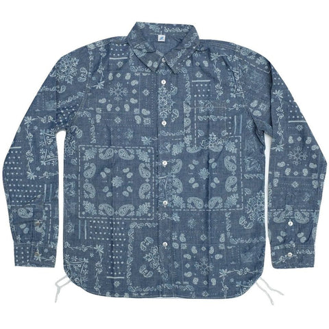 Pure Blue Japan Light Indigo Chambray Discharge Paisley L/S Shirt