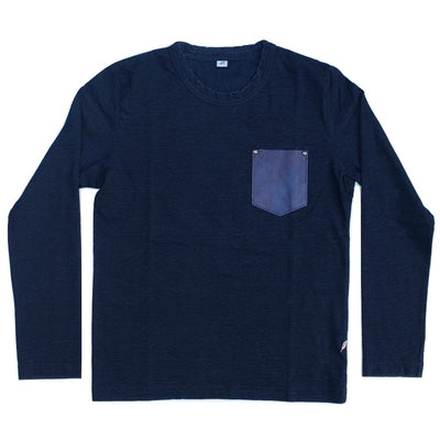Pure Blue Japan Indigo Dyed L/S Washable Leather Pocket Tee