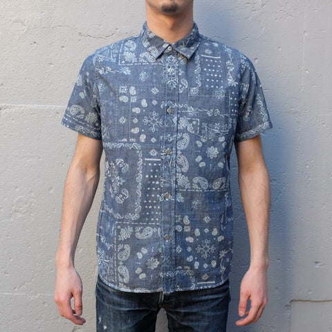 Pure Blue Japan Light Indigo Chambray Discharge Paisley S/S Shirt