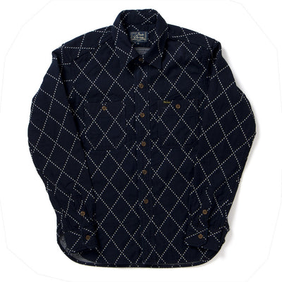 Studio D'Artisan 5649 Indigo Diamond Stitch Sashiko Shirt