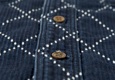 Studio D'Artisan 5649U Distressed Indigo Diamond Stitch Sashiko Shirt