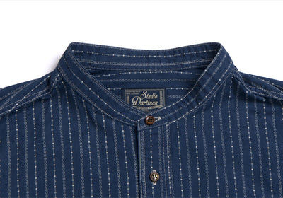 Studio D'Artisan 5oz. Indigo Wabash Band Collar Shirt