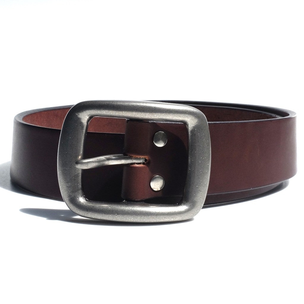 Samurai Jeans W001 Heavyweight Curved Leather Belt (Brown)