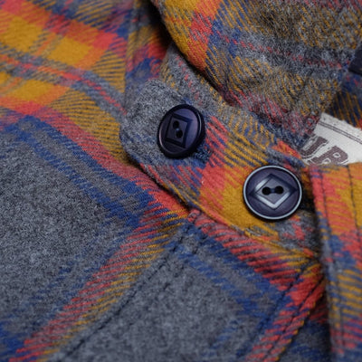 Samurai Jeans SNL19-01 Flannel Check Work Shirt (Mustard) - Okayama Denim Shirt - Selvedge