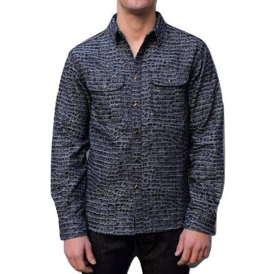 Senio Crocodile Pattern Indigo Jacquard Work Shirt - Okayama Denim Shirt - Selvedge