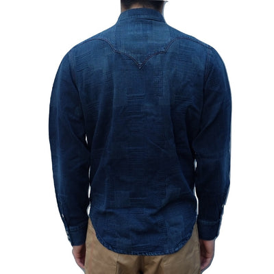 Senio Distressed Indigo Dyed Block Jacquard Western Shirt - Okayama Denim Shirt - Selvedge