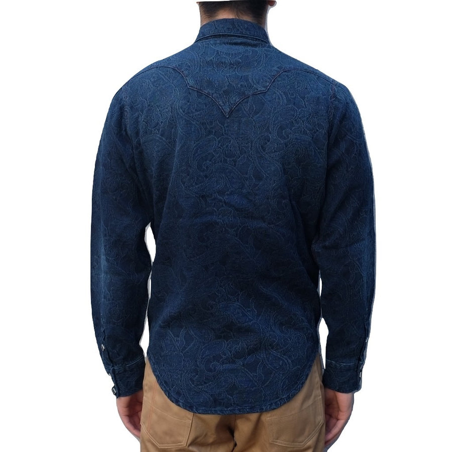 Senio Distressed Indigo Dyed Paisley Jacquard Western Shirt - Okayama Denim Shirt - Selvedge