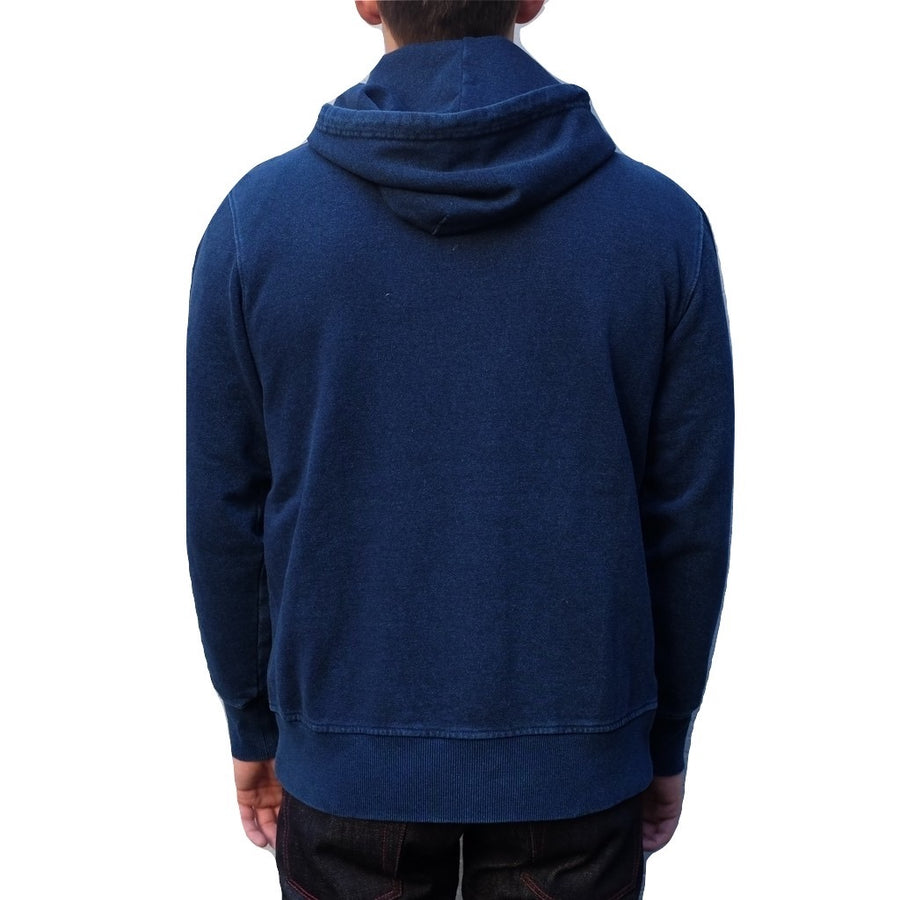 Senio Indigo Dyed Zip-up Hooded Sweatshirt - Okayama Denim Sweatshirt - Selvedge