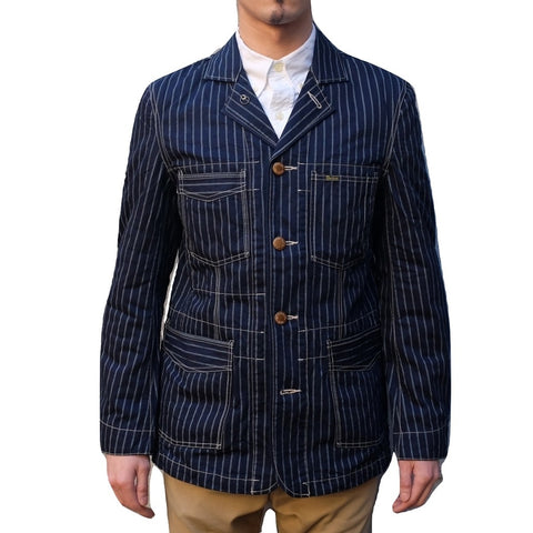 Studio D'Artisan Indigo Double Wabash Stripe Railroad Jacket