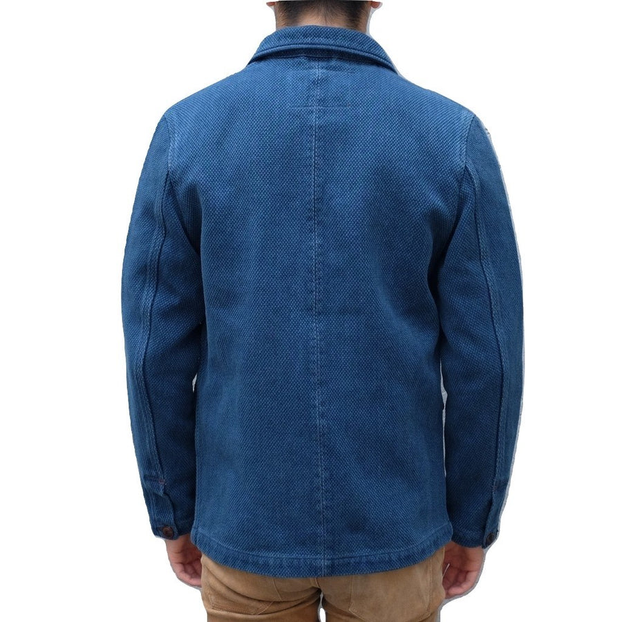 "Studio D'Artisan 4464 Distressed ""Kasezome"" Indigo Sashiko Selvedge Tailored Jacket - Okayama Denim Jacket - Selvedge"