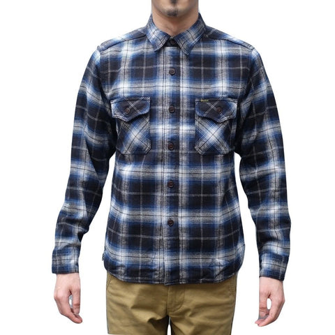 Studio D'Artisan Shaggy Flannel Check Work Shirt (Blue)