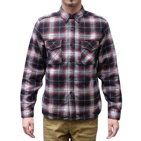 Studio D'Artisan Shaggy Flannel Check Work Shirt (Red)