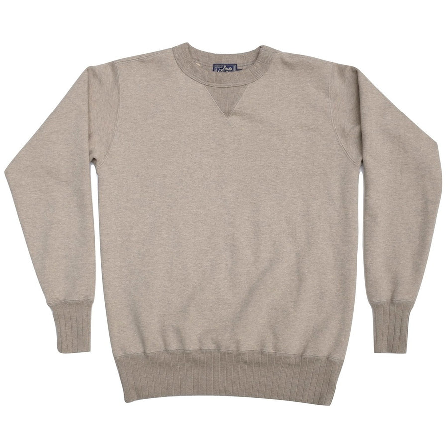 Studio D'Artisan Suvin Gold Loopwheel Crewneck Sweatshirt (Heather Gray) - Okayama Denim Sweatshirt - Selvedge