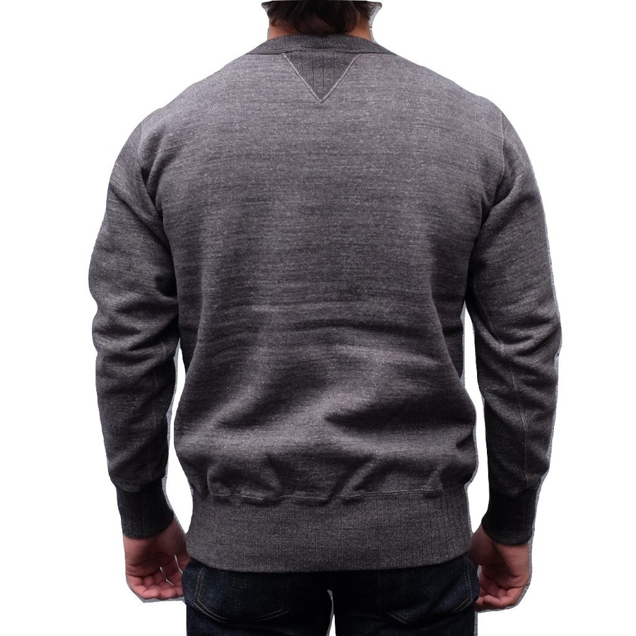 Studio D'Artisan Suvin Gold Loopwheel Crewneck Sweatshirt (Heather Black) - Okayama Denim Sweatshirt - Selvedge