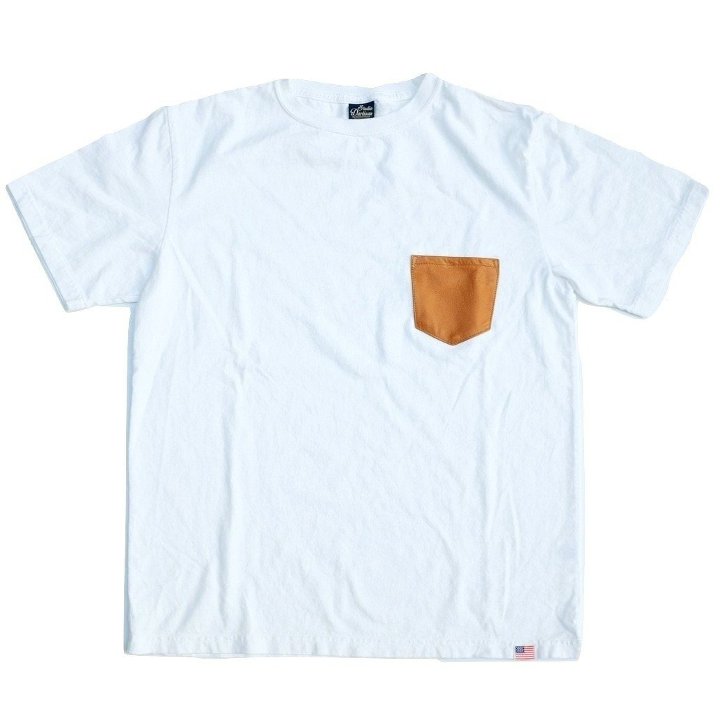 Studio D'Artisan Leather Pocket Tee (White) - Okayama Denim T-Shirts - Selvedge