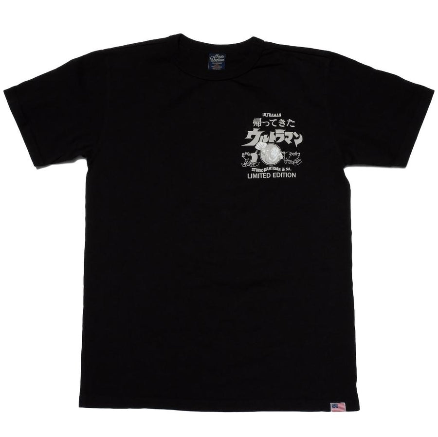 "Studio D'Artisan UTJ-002 ""Return of Ultraman"" Logo Tee (Black) - Okayama Denim T-Shirts - Selvedge"