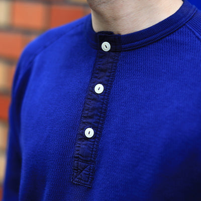 Loop & Weft Combed Yarn High Tension Honeycomb Thermal LS Henley (Navy)