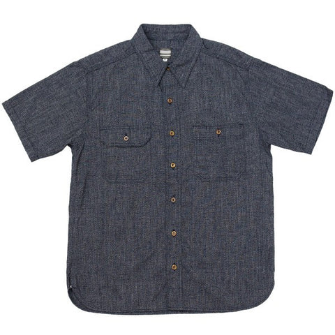 Momotaro 06-056 Twisted Heather S/S Selvedge Chambray Work Shirt (Navy)