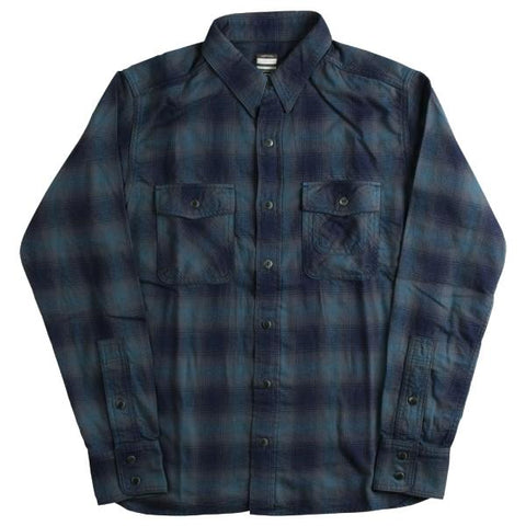 Momotaro Indigo Plaid Work Shirt (Blue)