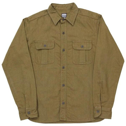 Momotaro Cotton x Linen Military Shirt (Khaki)