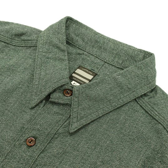 Momotaro 06-056 Twisted Heather S/S Selvedge Chambray Work Shirt (Green)