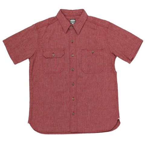 Momotaro 06-056 Twisted Heather S/S Selvedge Chambray Work Shirt (Red)