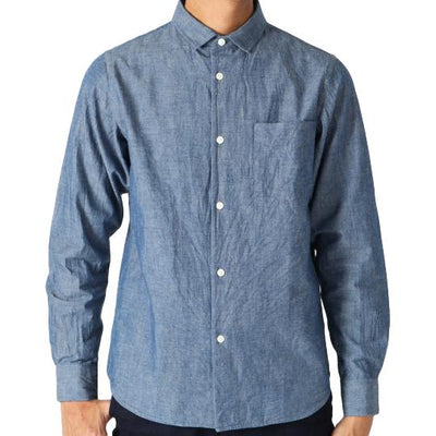 Japan Blue 5oz. Côte d'Ivoire Tailored Chambray Shirt (Light Indigo) - Okayama Denim Shirt - Selvedge