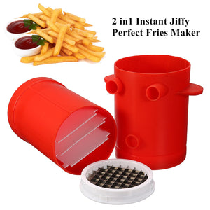 2 in 1 Instant French Fries Maker Potatoes Slicers Cutter + Microwave Container For Simple Make The Delicious French Fries