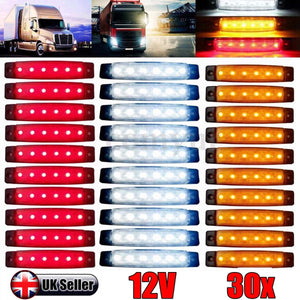 Car Truck Marker Trail Side 6 LED Lights Signal Lamp Multiple Flexible Choice 30PCS/10PCS Red White Yellow Blue Green 12V/24V