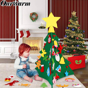 OurWarm 3D DIY Felt Christmas Tree with Ornaments Kids New Year Toys Artificial Tree Xmas Gifts Door Wall Hanging Decorations