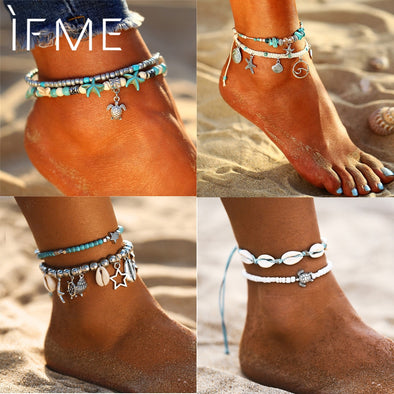 Vintage Bohemian Multiple Layers Starfish Turtle Beads Anklets