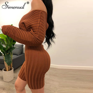 Simenual Sexy  Long Sleeve Skinny Matching Sets Autumn Fashion Women