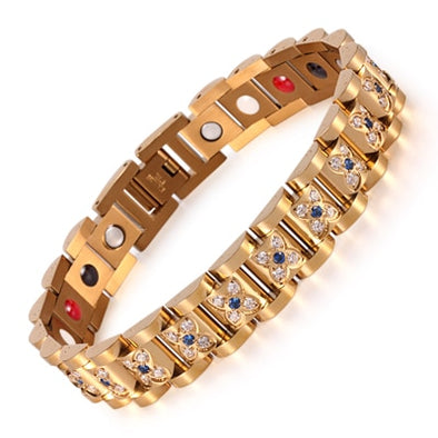 Elegant Crystal Rhinestone Bracelets & Bangles For Women Gold Magnetic Fashion Health Bracelet Lady Jewelry OSB-1539GFIR