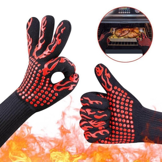 1 Pair Red Flame BBQ Gloves Use While Smoking Grilling or Baking Extremely Heat Resistant with Extra Forearm Protection