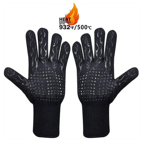 1 Pair Black Flame Design BBQ Gloves Great for Smoking, Grilling or Baking 33CM Extreme Heat Resistant with Extra Forearm Protection