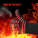 Red Stripe Hot Grip BBQ Gloves For Smoking, Grilling and Baking (1 Pair) Extreme Heat Resistant with Forearm Protection