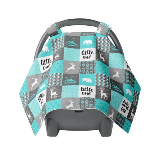 Canopy Car Seat Cover Minky Warm Baby Cover Wild Mountains