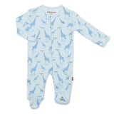 Magnetic Blue Jolie Giraffe Organic Cotton Footie