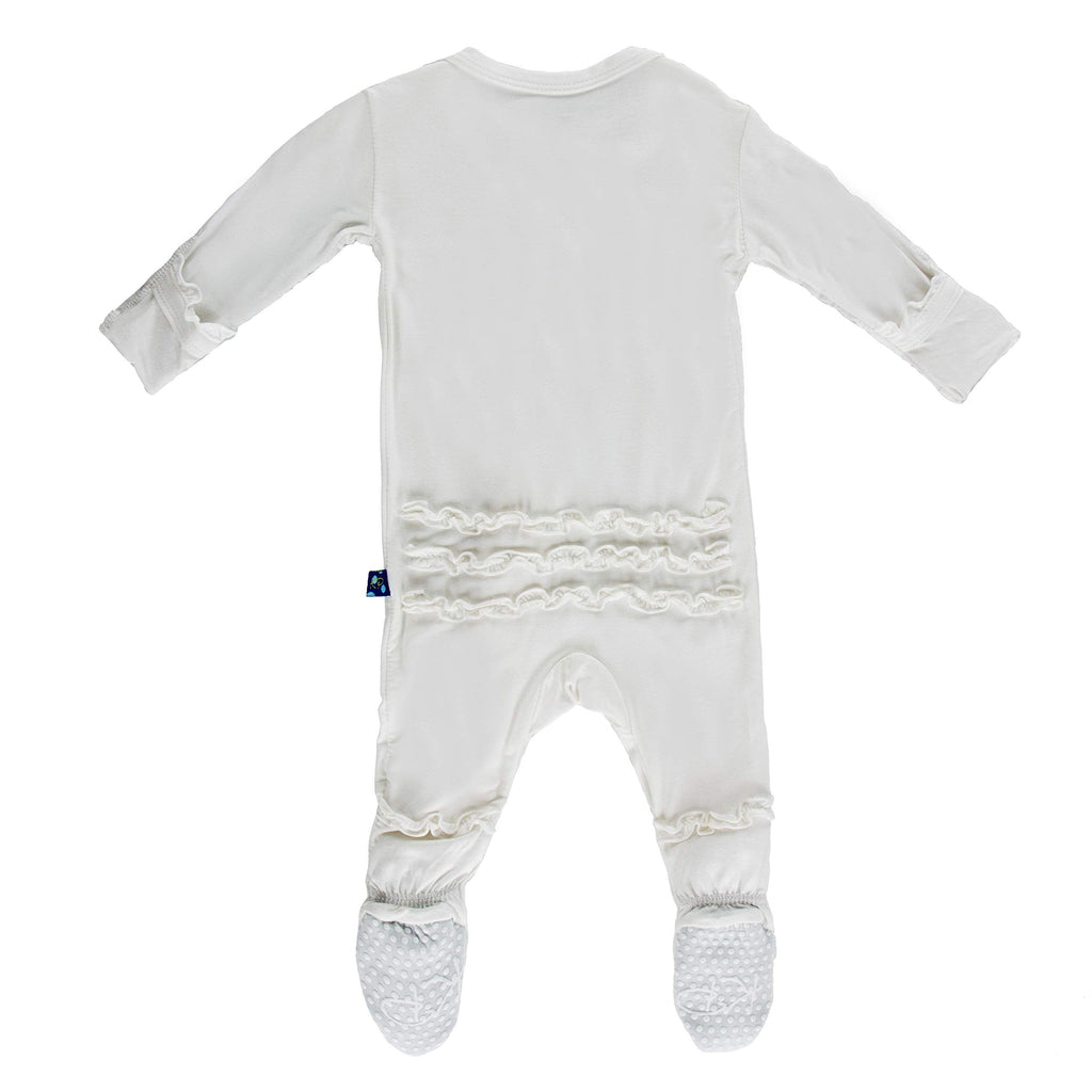 Ruffle Footie with Zipper Natural