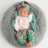 Teal Floral Isn't She Lovely Newborn 3 Piece Outfit