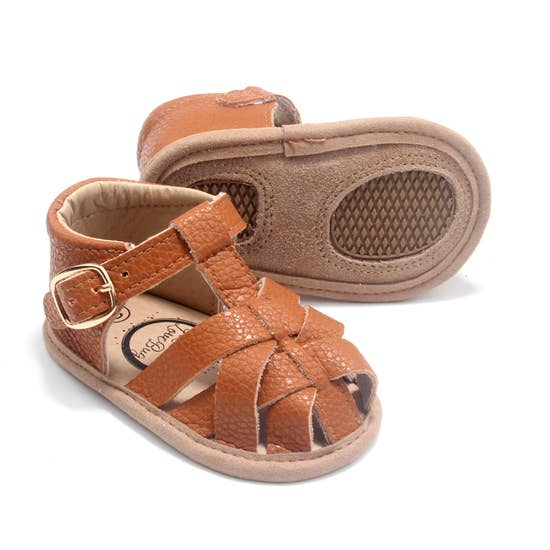 Brown Closed Toe Leather Sandal